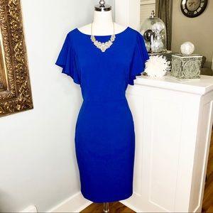 Calvin Klein Blue Ruffled Sheath Dress w Pockets